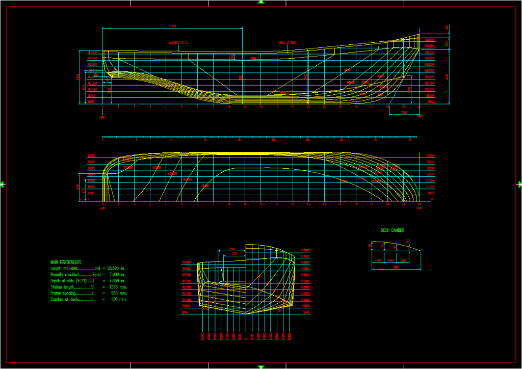 Lines plans and offsets drawings | MODECA Ltd. - Ship Engineering & Naval Architect